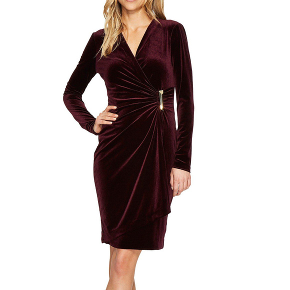351ac11c820 Calvin Klein Burgundy Velvet Wrap Sheath Dress